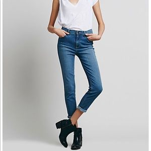 Free People Jeans High Rise Denim Dusty Blue NWT